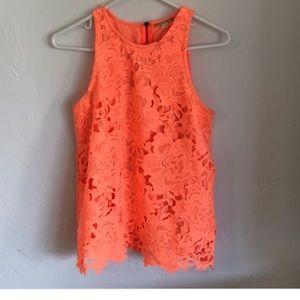 Gianni Bini Neon Orange Lace Tank
